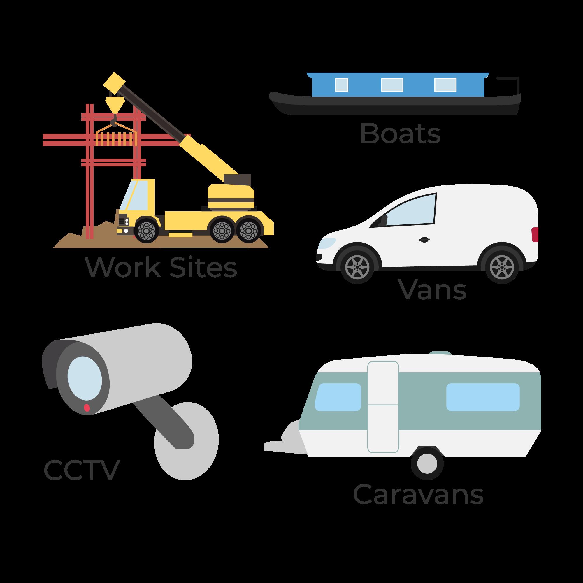 A vector image of boats, work sites, van, caravans, and CCTV