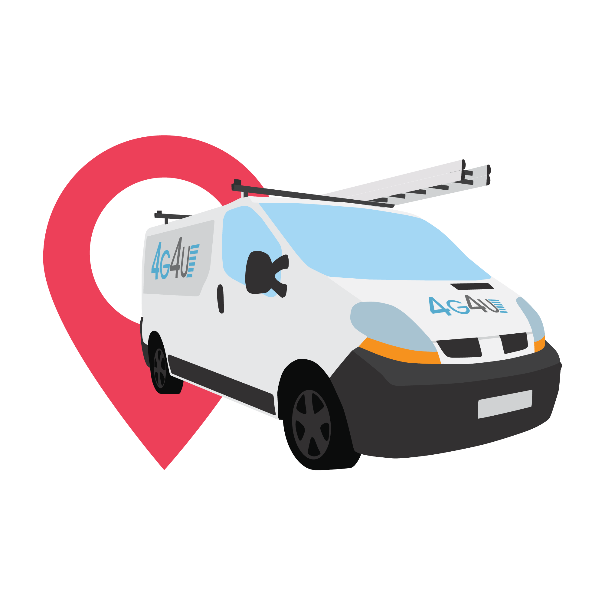 A vector image of a van with a ladder atop it