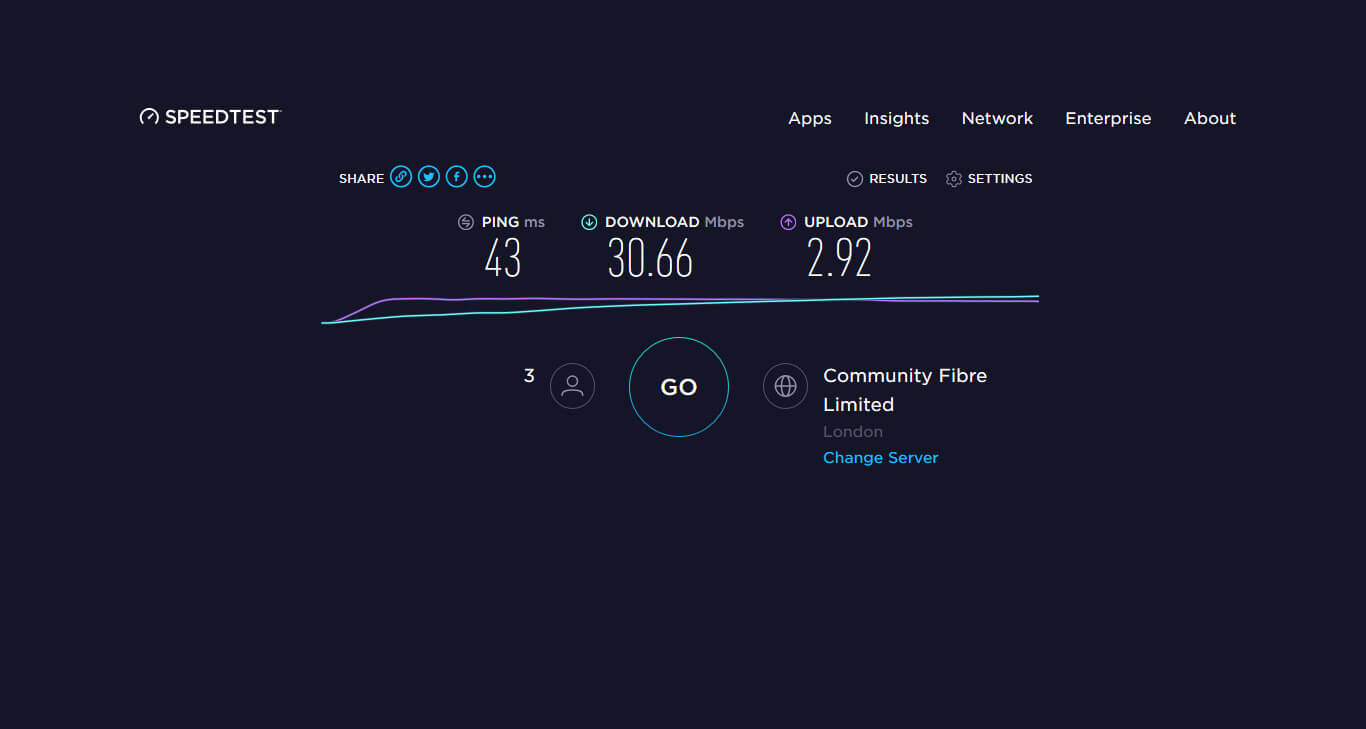 Internet Speedtest Test and Result