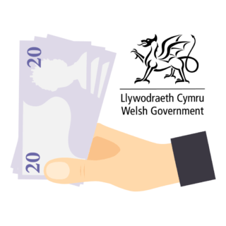 A vector image with a hand handing out a money