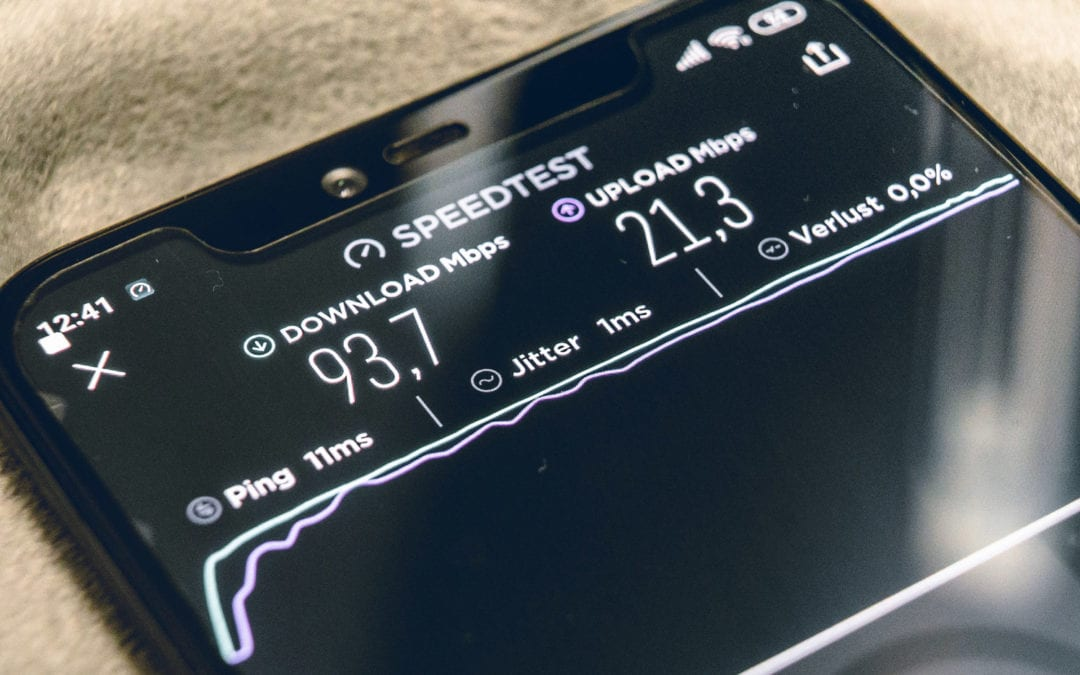 Mobile phone showing speed test