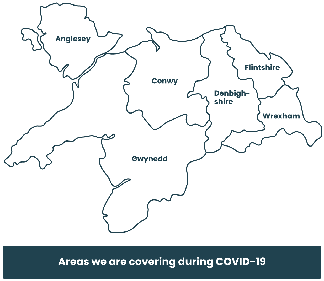 Map of areas we cover during COVID-19